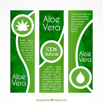 Set of three aloe vera banners