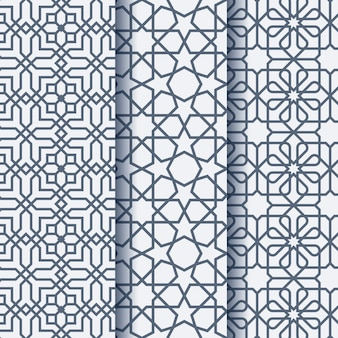 Set of three arabic ornament geometric pattern