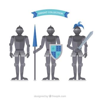 Set of three armor in flat design