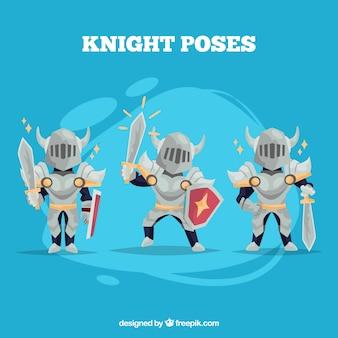 Set di tre cavalieri d'armatura
