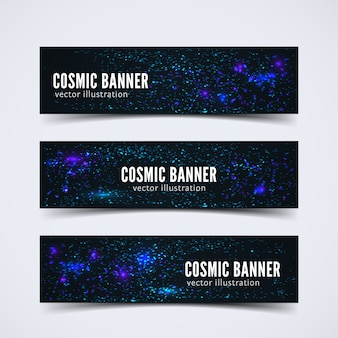 Set of three banner set with abstract cosmic scene