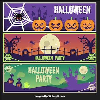 Set of three banners halloween