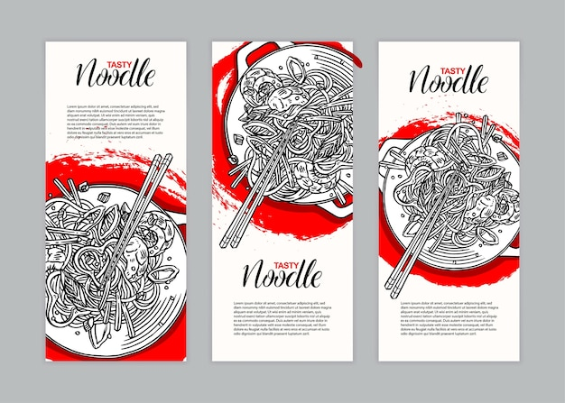 Set of three banners with asian noodles with shrimps. hand-drawn illustration