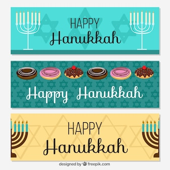 Set of three banners with candelabras and sweets for hanukkah