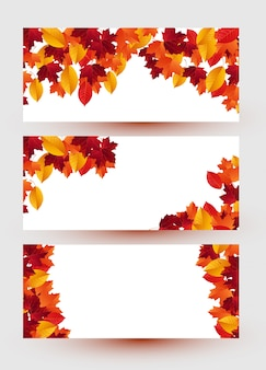 Set of three banners with colorful autumn leaves