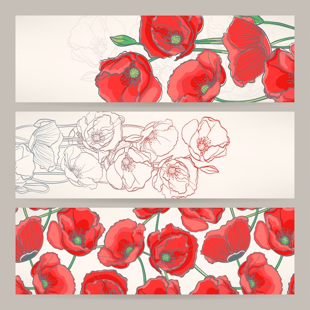 Set of three beautiful banners with red poppies