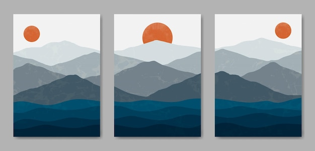 Set of three beautiful contemporary aesthetic minimal landscape poster cover