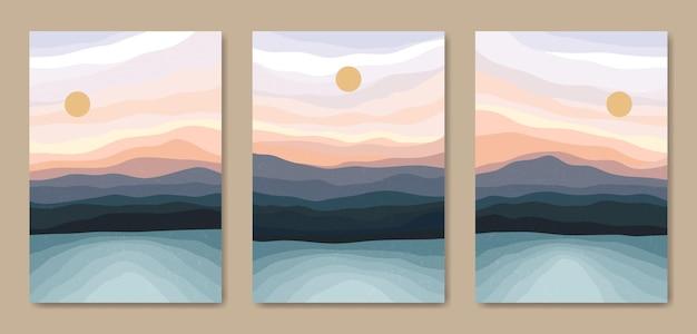 Set of three beautiful contemporary aesthetic minimal landscape