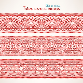 Set of three beautiful tribal seamless borders with triangles and rhombuses