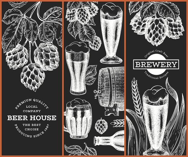 Set of three beer  templates. hand drawn  pub beverage illustration on chalk board. engraved style. retro brewery illustration.