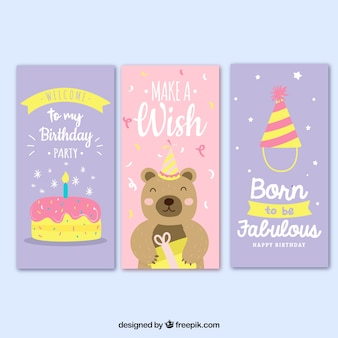 Set of three birthday cards in pink and lilac
