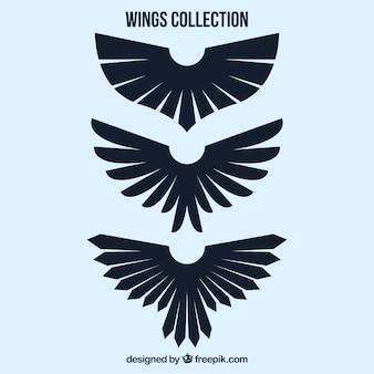 Set of three black decorative wings