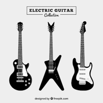 Set of three black electric guitars
