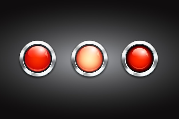 Set of three blank red buttons with shiny metal rims and reflections