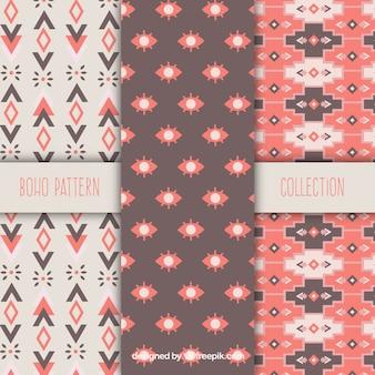 Set of three boho patterns in flat design