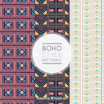 Set of three boho patterns with flat forms