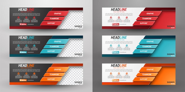 Set of three business banner