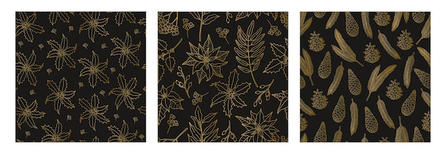 Set of three christmas seamless patterns with gold plant line, symbol of the holiday.