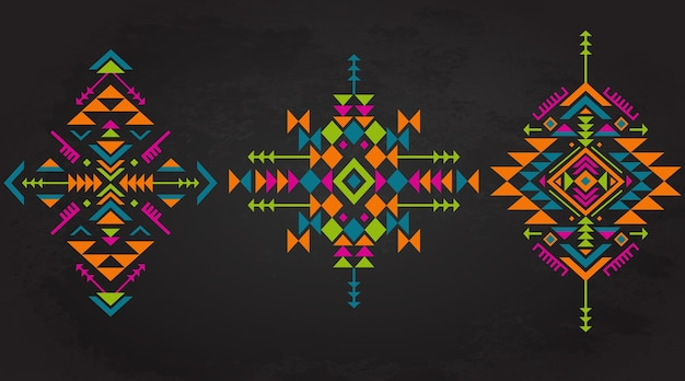 Set of three colorful ethnic pattern elements with geometric shapes