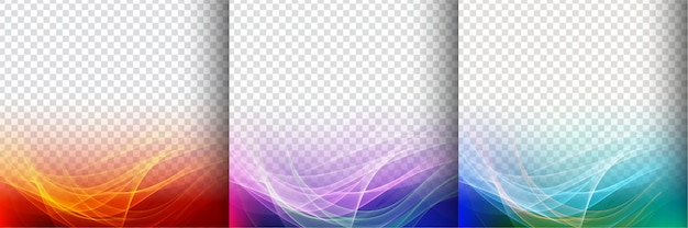 Set of three colorful transparent wave background