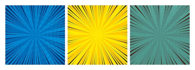 Set of three comic book pages backgrounds in pop art style with empty space. template with rays, dots and halftone effect texture. vector illustration