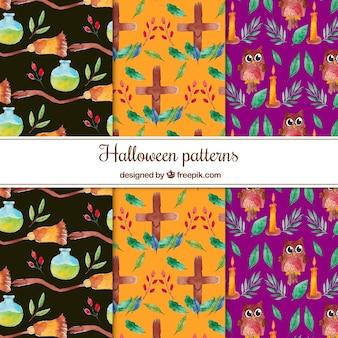 Set of three cute halloween patterns