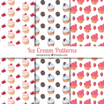 Set of three delicious ice cream patterns