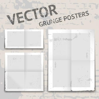 Set of three different vector grunge posters with tattered edges