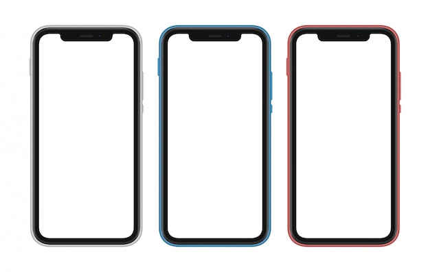 Set of three differently colored smartphones with white blank screens. frameless cellphones isolated
