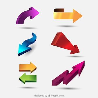 Set of three-dimensional arrows