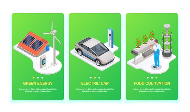 Set of three eco friendly technology vertical banners with isometric illustration
