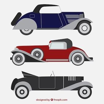 Set di tre veicoli eleganti nel design piatto
