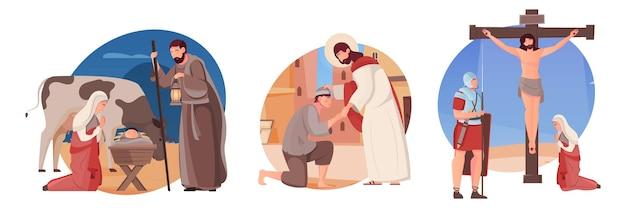 Set of three flat illustrations with jesus christ