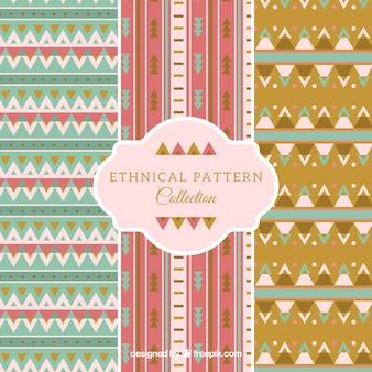 Set of three geometric patterns in flat design