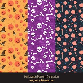 Set of three halloween patterns in flat design