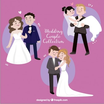 Set of three hand-drawn newlyweds smiling