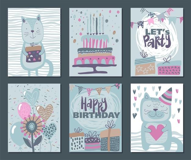 Set of three happy birthday party cards