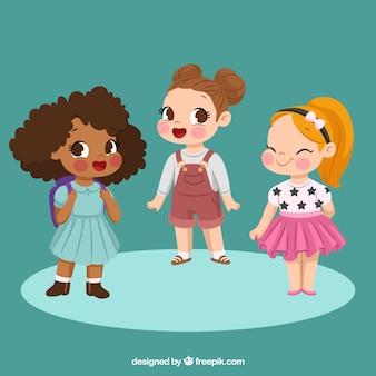 Set of three happy girls