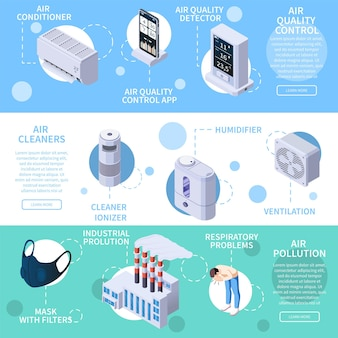 Set of three horizontal air purification quality control isometric banners with icons of electronic cleaning devices illustration