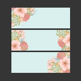 Set of three horizontal banners.beautiful floral pattern in oriental style. place for your text.