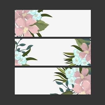 Set of three horizontal banners with delicate pattern flowers.