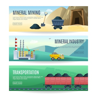 Set of three horizontal mineral mining industry and transportation banners