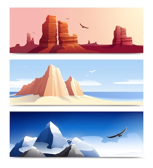Set of  three horizontal  mountains rocks landscapes with colourful terrain and daylight sky with birds  illustrations,