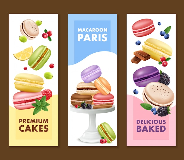 Set of three isolated vertical macaroons banners