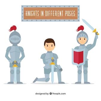 Set of three knight characters