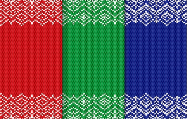 Set of three knitted christmas backgrounds. different colors seamless geometric ornament.