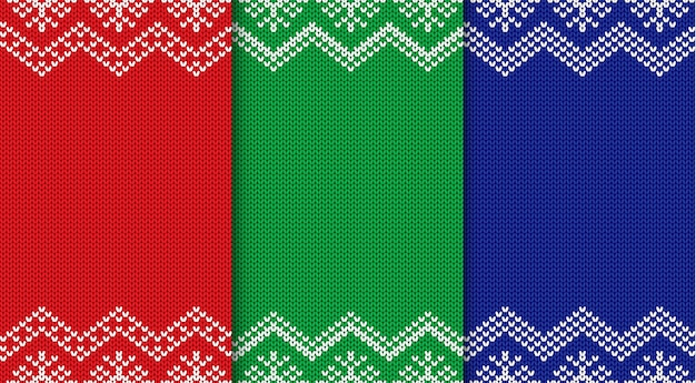 Set of three knitted christmas backgrounds. seamless geometric ornament.
