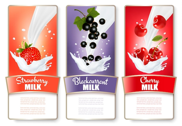 Set of three labels of berries in milk splashes. strawberry, blueberry, raspberry.