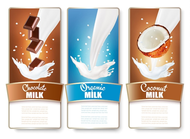 Set of three labels of chocolate and coconut milk splashes.