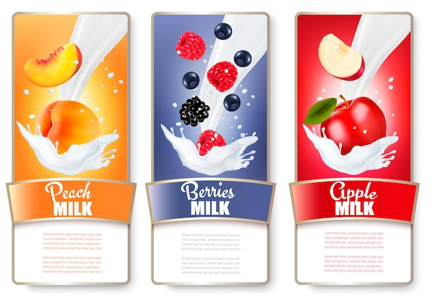 Set of three labels of fruit and berries in milk splashes. apricot, blackberry, raspberry, apple.
